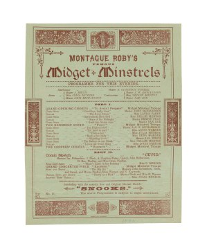 Programme for a performance of Montague Roby's Midget Minstrels, 1890. James Donoghue was the troupe's