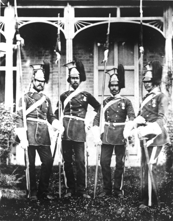 17th Lancers, 1855. From left to right: Thomas Smith - William Dimmock - William Pearson - Thomas Foster. (Royal Collection, Windsor)