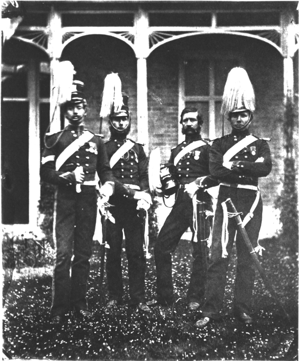 4th Light Dragoon, 1855. From left to right: Sgt David Gillam – Pte John Thomas Moon – Pte Healey Stratton – Pte William Simpson. (Royal Collection, Windsor)