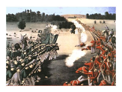 "A fanciful depiction of the ""Battle of Ridgeway"", also known as the ""Fenian Raid"", 1866."